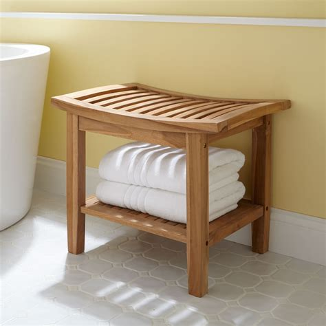 Elok Teak Shower Seat Shower Seat And Teak Storage Bench For Bathroom