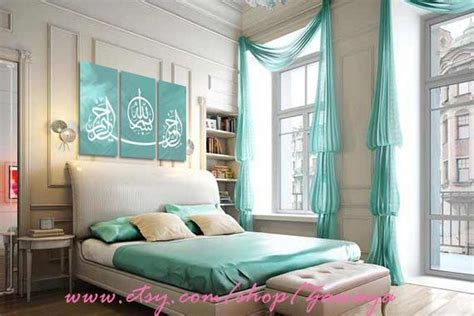 muslim bedroom design teal and white painting 3 panels with arabic calligraphy
