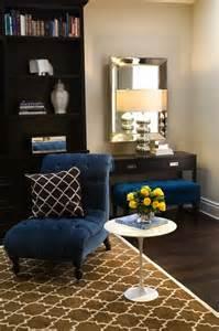 Royal Blue Living Room Rug Velvet Tufted Chair Contemporary Den Library Office