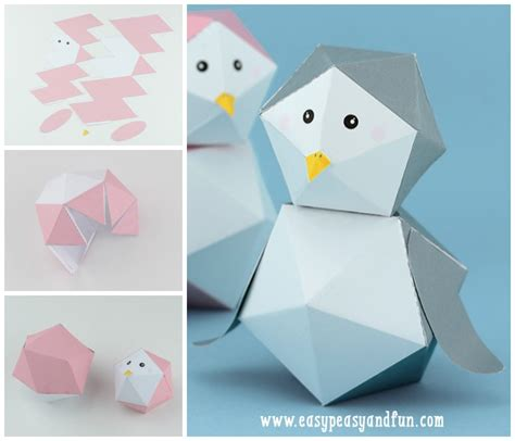 Print And Make Paper Toys - 3d penguin paper free printable easy peasy and