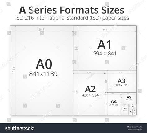 illustration comparison paper size format series stock