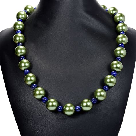 Handmade Gemstone Jewellery Uk - vintage green glass pearl lapis lazuli necklace handmade
