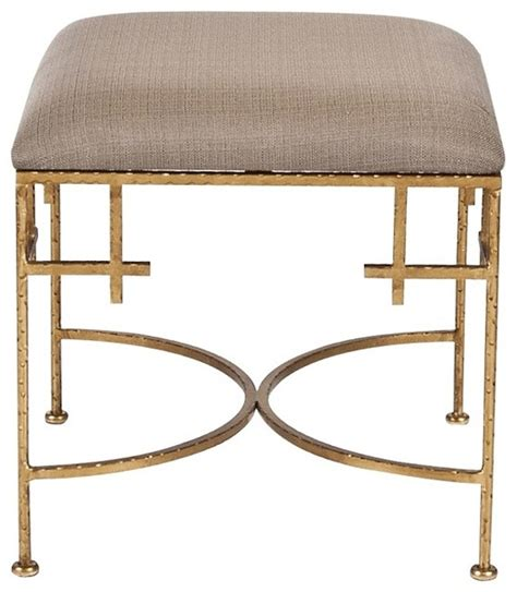 square stool with linen top gold leaf