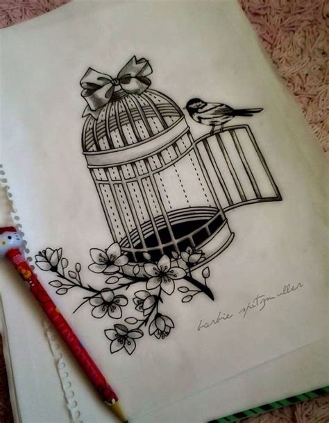 Birdcage Drawing birdcage caged bird pencil and in color