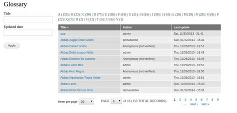book layout glossary how to create a glossary view in drupal