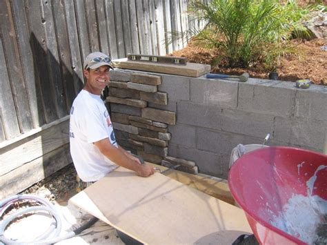 How To Build A Cinder Block Foundation For A Shed by Covering Cement Blocks With Rock Facing The Best Way To