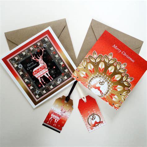christmas reindeer display greeting cards and tags