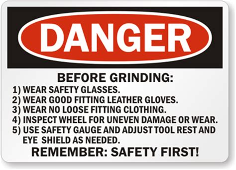 bench grinder safety rules grinder safety signs wear face shield eye protection