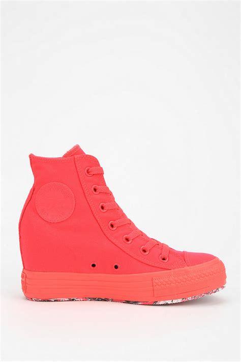pink wedge sneakers converse plus contrast sole womens wedge hightop