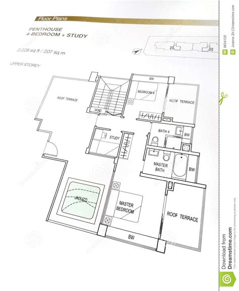 Draft A Blueprint Of Your Dream Home penthouse floor plans stock photo image of building