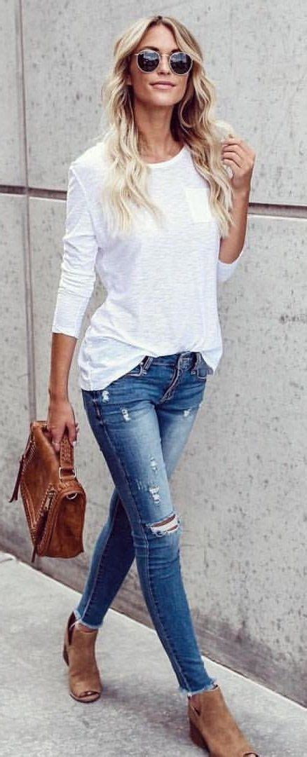 womens outfits summer on pinterest fall outfits women s white long sleeved crew neck shirt