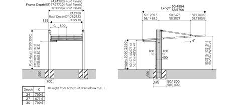 Carport Dimensions by Exterior Carport Rsc Rsz Series Dimensional Drawings