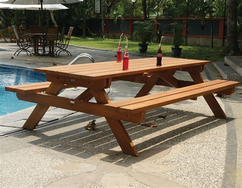 bench and picnic table large hardwood picnic table bench set