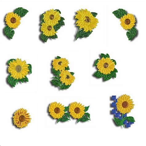 Sew Home Decor sunflower appliques machine embroidery designs by sew swell