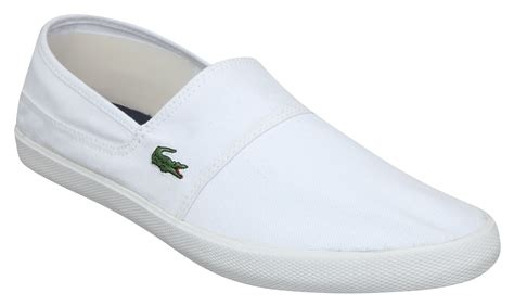 lacoste clemente canvas slip on shoes in white for lyst
