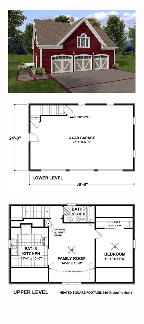 garage apartment plan 93472 total living area 750 sq