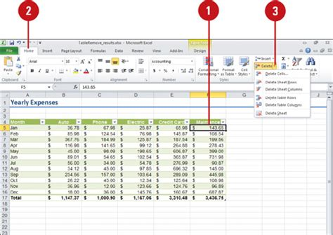 Excel Drop List From Table by Microsoft Excel 2010 Removing Table Rows And Columns