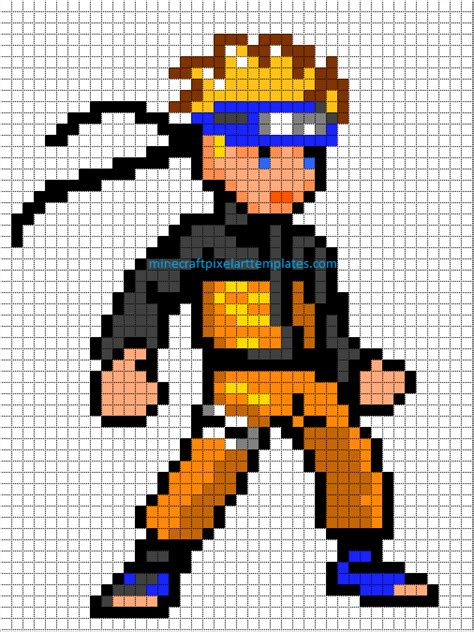 minecraft pixel art templates naruto