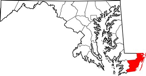 Worcester County Search File Map Of Maryland Highlighting Worcester County Svg Wikimedia Commons