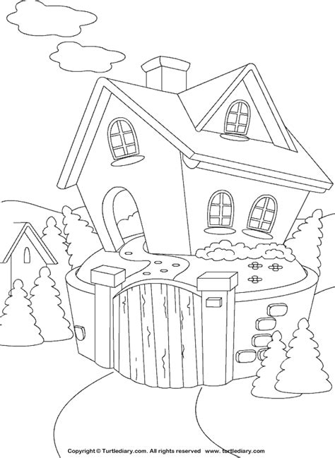 cottage house coloring pages cottage coloring sheet turtle diary