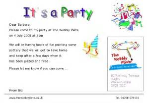 the wobbly plate party invitations