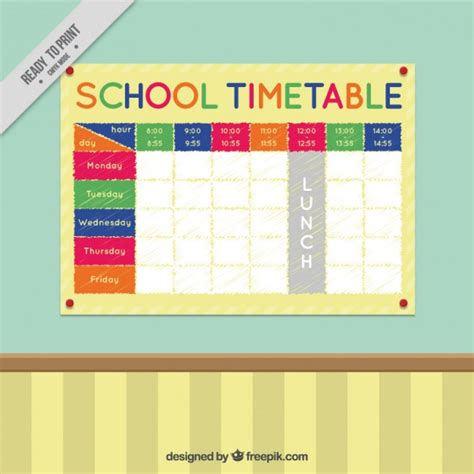 colorful timetable on a wall vector premium download