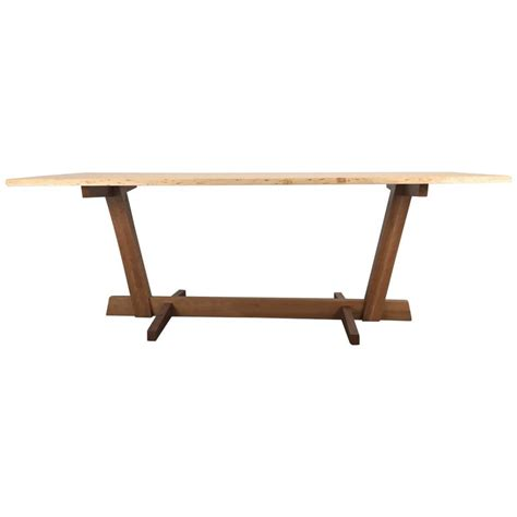 Live Edge Dining Table For Sale Modernist Live Edge Figured Cherrywood Dining Table Or Desk Griff Logan For Sale At 1stdibs