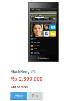 Hp Blackberry Di Lazada harga blackberry z3 mengalami kenaikan lebih mahal dari