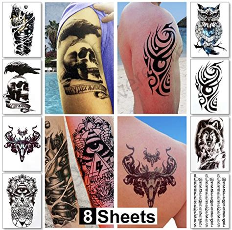 fake tattoos for men large temporary tattoos for guys for
