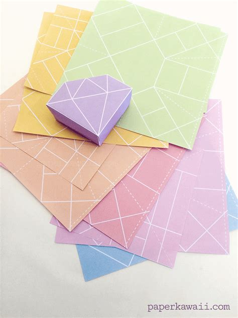 Origami Gem - free printable origami box tutorial paper kawaii