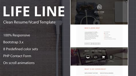 page one responsive vcard resume html template lifeline responsive one page vcard resume html5