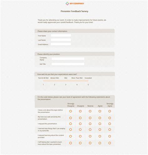 presentation feedback form sample survey questions nruozzi ideas