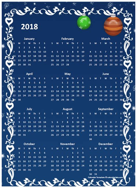 Calendar 2018 Design Free 2018 Yearly Calendar Design Template Free Printable