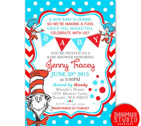 Dr Seuss Baby Shower by Dr Seuss Baby Shower Invitation Card Cat In The Hat Baby