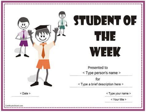 student of the week certificate template free education certificates student of the week