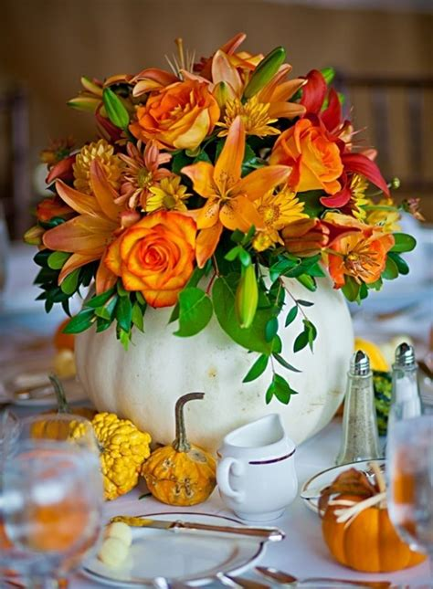 40 Amazing Fall Pumpkin Centerpieces Digsdigs Pumpkin With Flowers Centerpieces