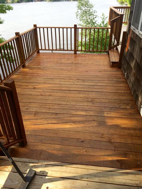 final coat  olympic cedar naturaltone   side deck
