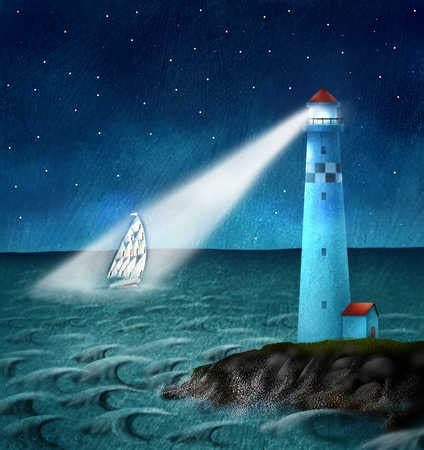 stock illustration lighthouse beacon shining on sailboat - Boat And Lighthouse Drawing