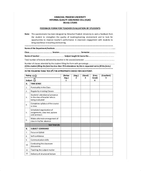 sle instructor evaluation form teaching evaluation form teacheng us