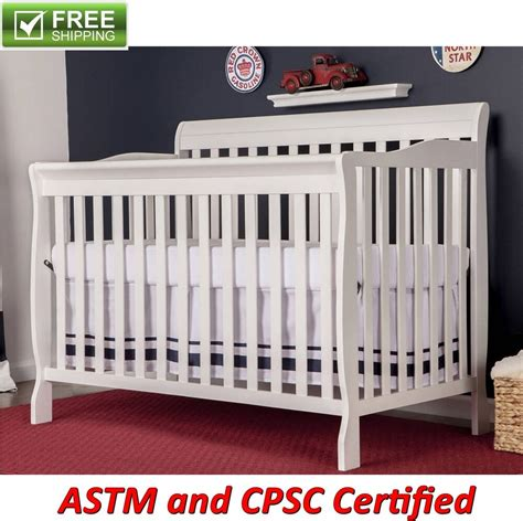 convertible baby bed    full size crib white nursery