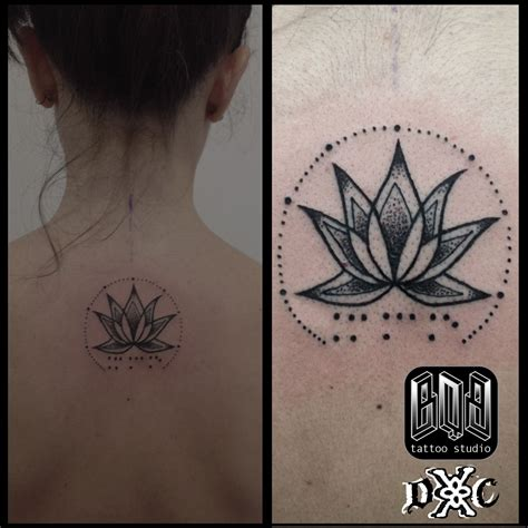 mystics tattoo flor loto flower braille dotwork mystic