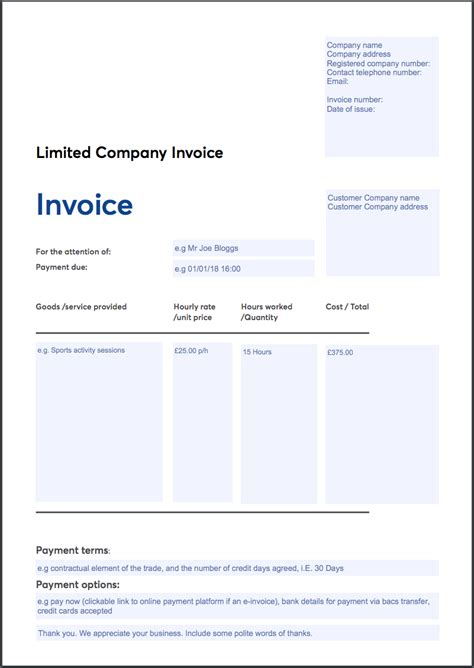 Invoicing Templates Limited Company Invoice Template
