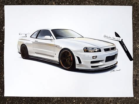 nissan skyline drawing by nissan skyline r34 gt r darko iker draw to drive