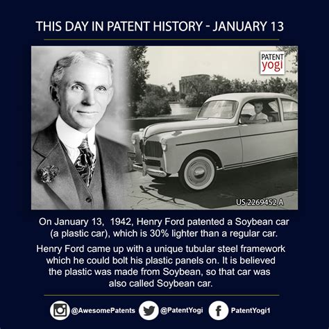 this day in automotive history books this day in patent history on january 13 1942 henry