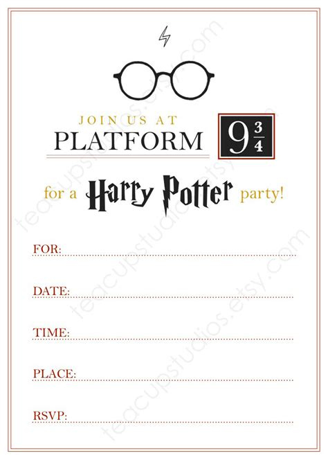 Housewarming Gift by Printable Harry Potter Invitation Pdf