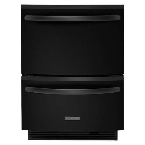 double drawer dishwasher kitchenaid 24 quot double drawer dishwasher black sears