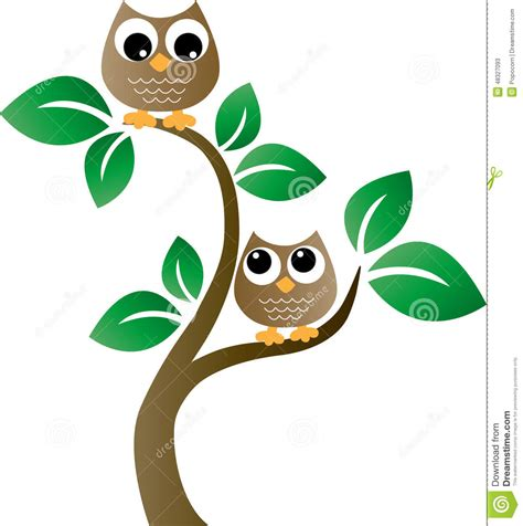 Tree Branch Wall Sticker two brown owls in a tree stock vector image 48327093