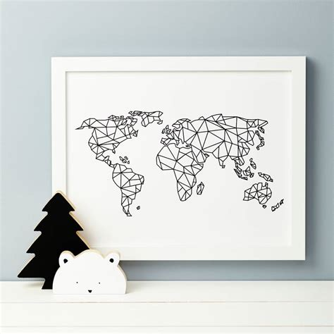 Wall Sticker Map Of The World geometric world map print by thispaperbook
