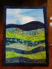 landscape quilt mini batik fabric displayed on 5 x