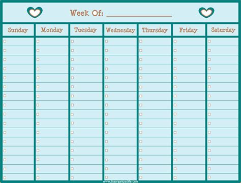 printable weekly calendar questionnaire template